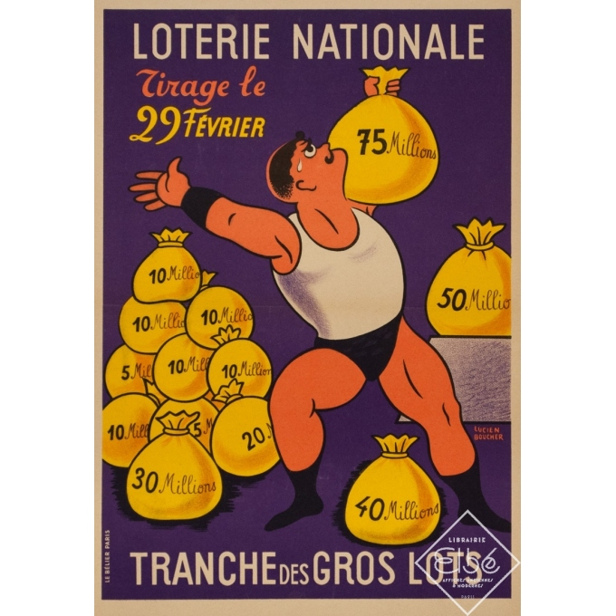 Vintage advertising poster - Lucien Boucher - Circa 1959 - Loterie Nationale Tirage Du 29 Fevrier - 21.6 by 15.2 inches