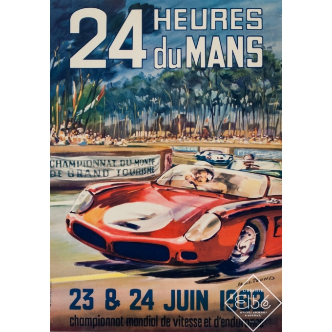 Vintage advertising poster - Beligond - 1962 - 24 Heures Du Mans - 22.4 by 15.6 inches