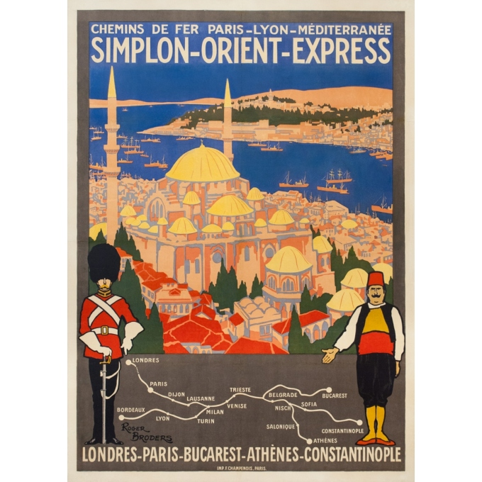 Vintage travel poster - Simplon Orient Express - Roger Broders - 1921