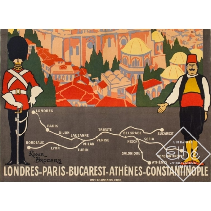 Vintage travel poster - Simplon Orient Express - Roger Broders - 1921 - 3