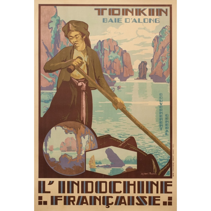 Vintage exhibition poster - Jos-Henri Ponchin - 1931 - Tonkin Indochine Française Exposition 1931 - 43.7 by 29.9 inches