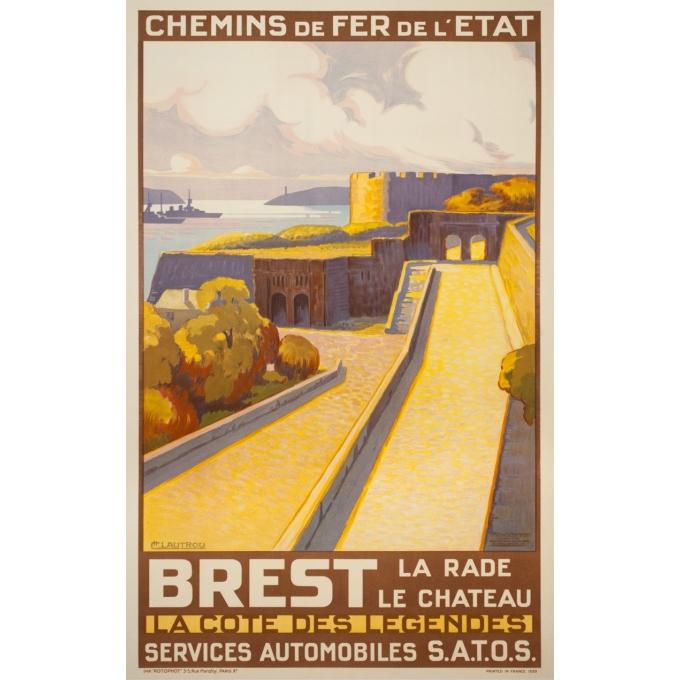 Affiche ancienne de voyage - Lautrou - 1930 - Brest Chemin De Fer De L'État 1930 - 100 par 62.5 cm