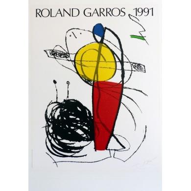 Affiche originale de Roland Garros 1991 par Joan Miró. Elbé Paris.
