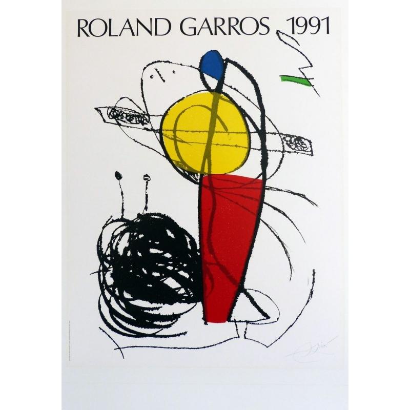 Original poster of Roland Garros 1991 by Joan Miró. Elbé Paris.