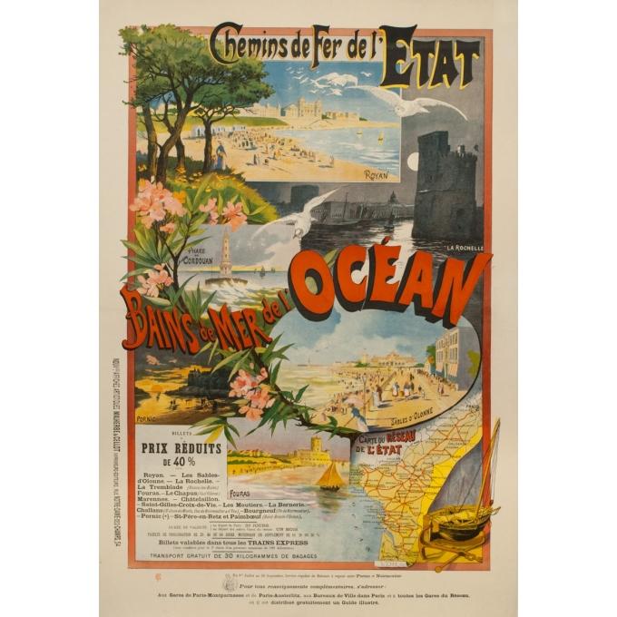 Affiche ancienne de voyage - VDH. SC - 1900 - Bains De Mer De L'Océan Chemin De Fer De L'État 1890 - 121.5 par 82.5 cm