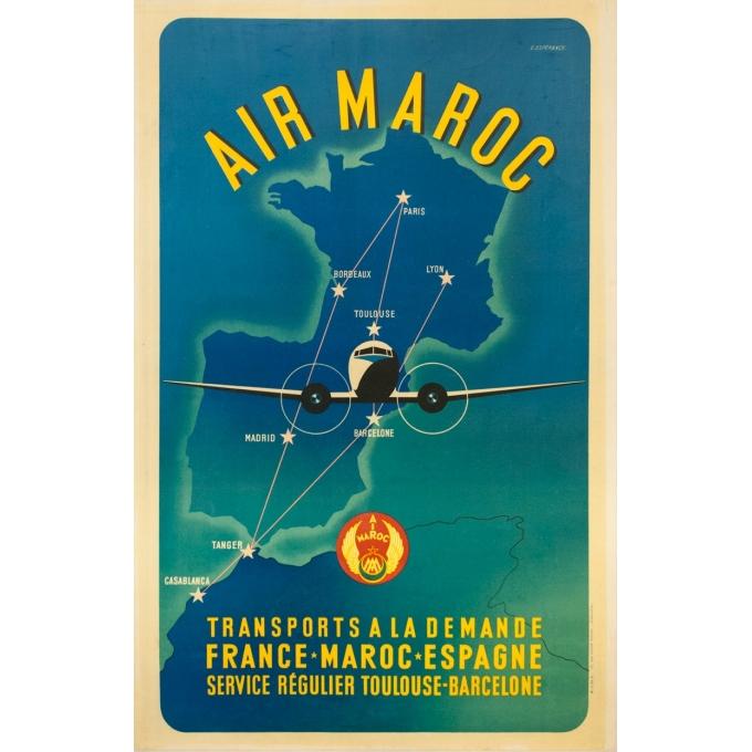 Vintage travel poster - E.Esperance - Circa 1957 - Air Maroc 1957 - 40 by 25.6 inches