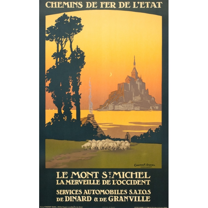 Vintage travel poster - Constant Duval - 1920 - Le Mont Saint Michel 1920 - 39.4 by 24.6 inches