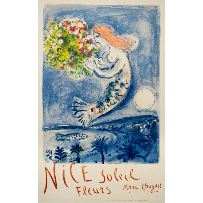 Vintage exhibition poster - Marc Chagall - 1962 - Nice Soleil Fleur - 39.4 by 24.6 inches