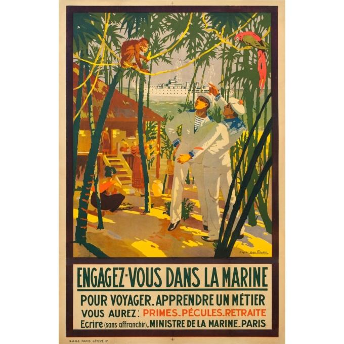 Affiche ancienne de voyage - Geo Michel - 1925 - Engagez Vous Dans La Marine Ministère De La Marine 1925 - 120.5 par 79.5 cm