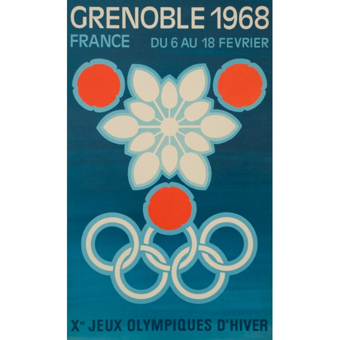 Vintage advertising poster - 1968 - Jeux Olympiques Grenoble 1968 - 20.3 by 12.4 inches