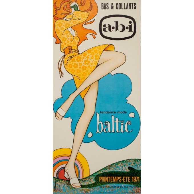 Vintage advertising poster - Courone - 1971 - A B I Baltic Collants Bas 1971 - 20.5 by 9.4 inches