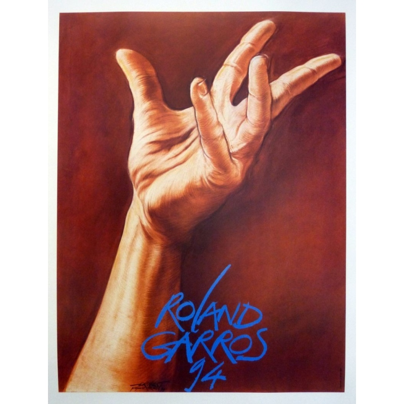 Original poster of Roland Garros 1994 by Ernest Pignon. Elbé Paris.
