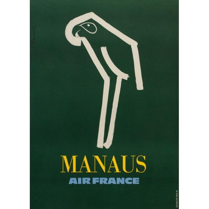 Affiche ancienne de voyage - C. Brunswick - 1976 - Manaus Air France - 69.5 par 50 cm