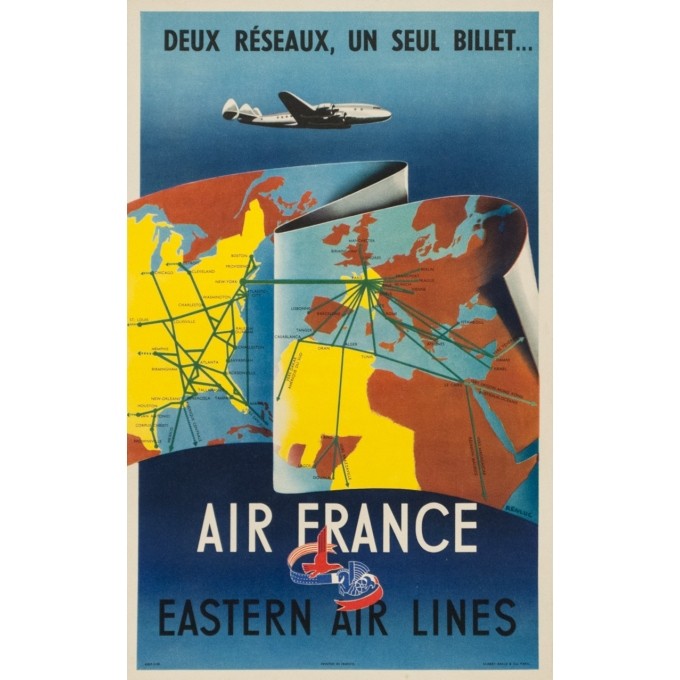 Vintage travel poster - Rebluc - 1950 - Air France eastern air lines - 19.7 by 12.2 inches