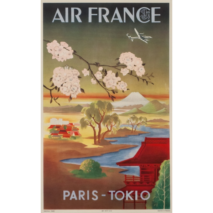 Vintage travel poster - 1952 - Air France Paris Tokio - 19.7 by 12.2 inches