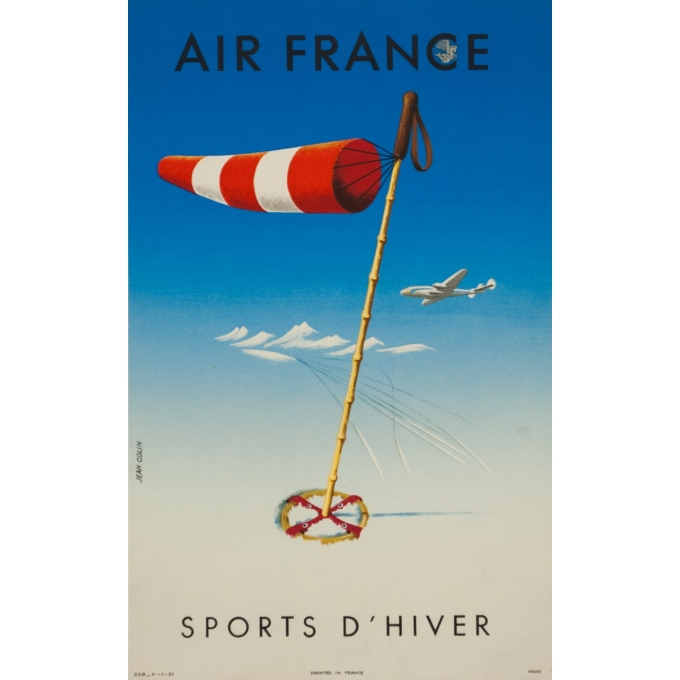 Vintage travel poster - Jean Colin  - 1951 - Air France Sports d'hiver 1951 - 19.7 by 12.2 inches