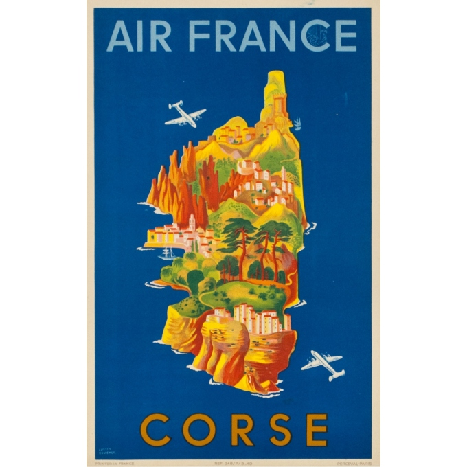 Vintage travel poster - Lucien Boucher - 1949 - Air France Corse 1949 - 19.7 by 12.2 inches