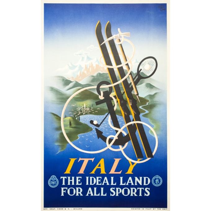 Affiche ancienne de voyage - A.M.Cassandre - 1935 - Italy Italie the ideal land for all sports - 100.5 par 62 cm