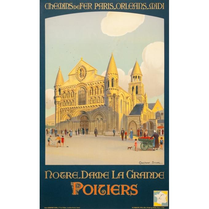 Affiche ancienne de voyage - Constant Duval  - 1934 - Notre Dame La Grande Poitiers - 100 par 62.5 cm