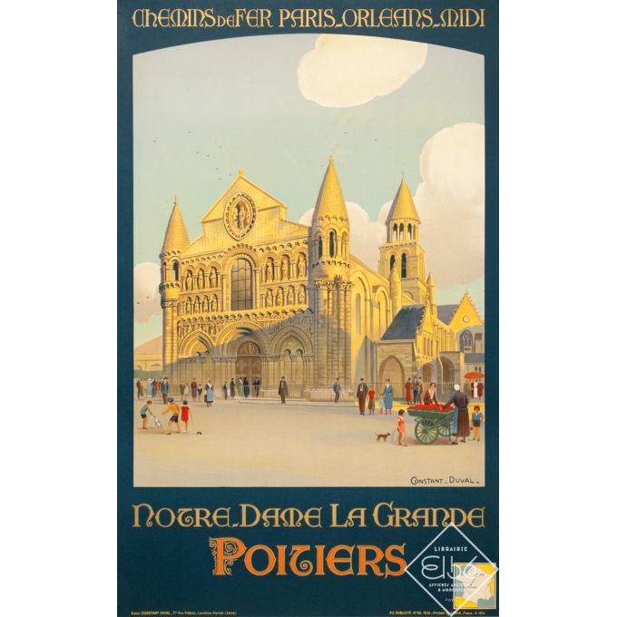 Vintage travel poster - Constant Duval  - 1934 - Notre Dame La Grande Poitiers - 39.4 by 24.6 inches