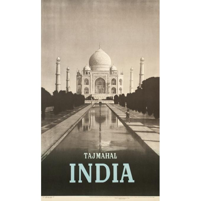 Affiche ancienne de voyage - 1957 - Tajmahal India - 101.5 par 60.5 cm