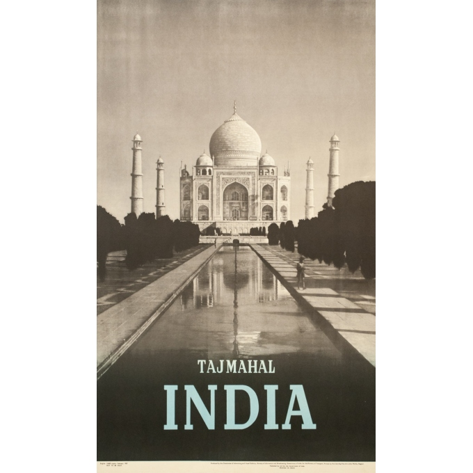 Vintage travel poster - 1957 - Tajmahal India - 40 by 23.8 inches