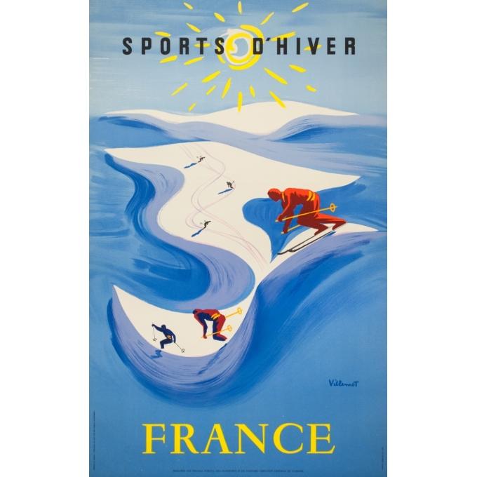 Affiche ancienne de voyage - Villemot - Circa 1950 - Sports d'hiver France - 100 par 62.5 cm