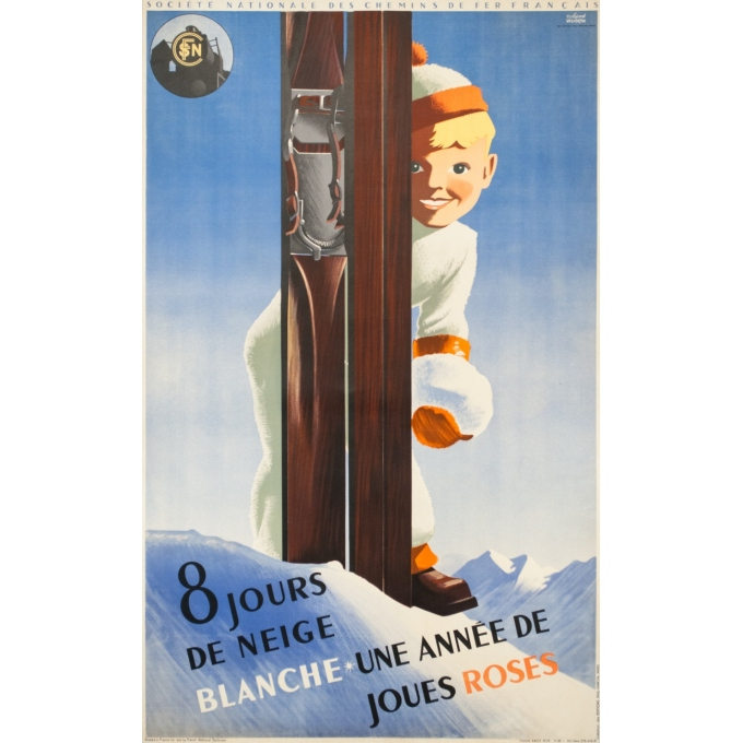 Vintage travel poster - Roland Hugon - 1938 - Huit jours de neige blanche SNCF - 39.4 by 24.4 inches