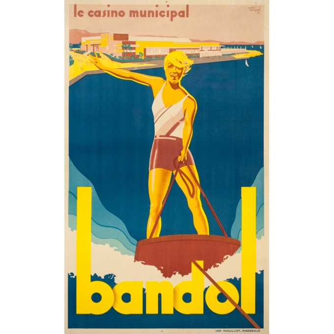 Vintage advertising poster - André Bremond - 1930 - Bandol Casino municipal - 39 by 23.6 inches