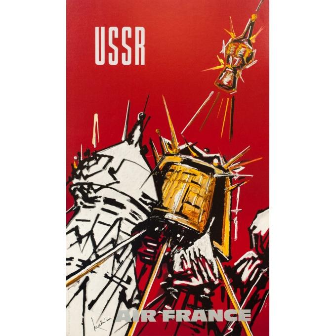 Affiche ancienne de voyage - Matthieu - 1968 - Air France USSR - 100 par 60.5 cm