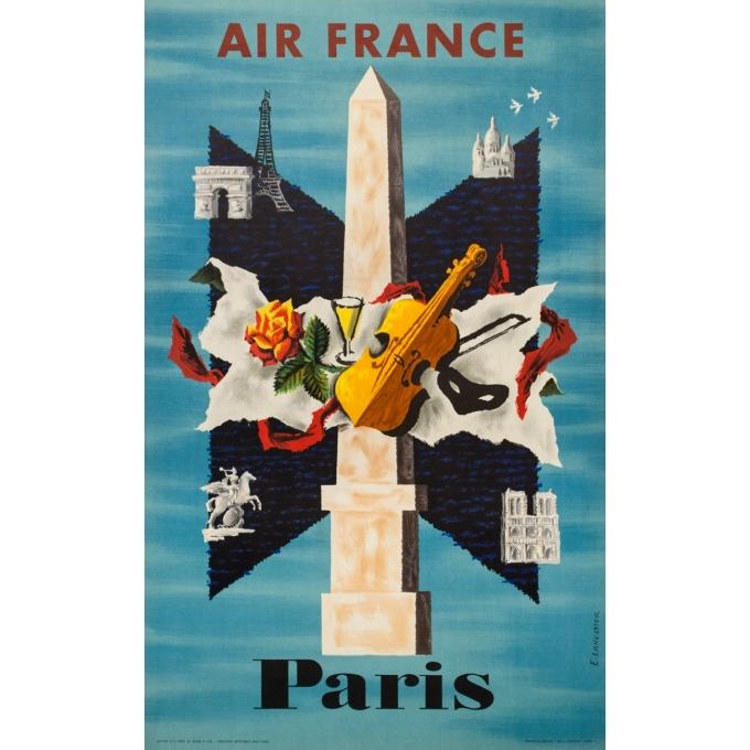 Vintage travel poster - E. Lancaster - 1956 - Air France Paris - 39.4 by 24.4 inches
