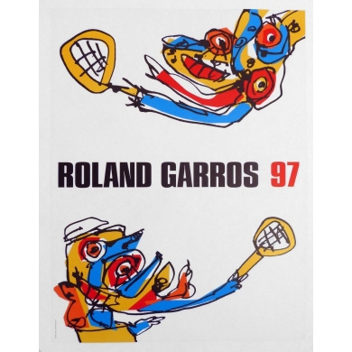 Original poster of Roland Garros 1997 by Antonio Saura. Elbé Paris.