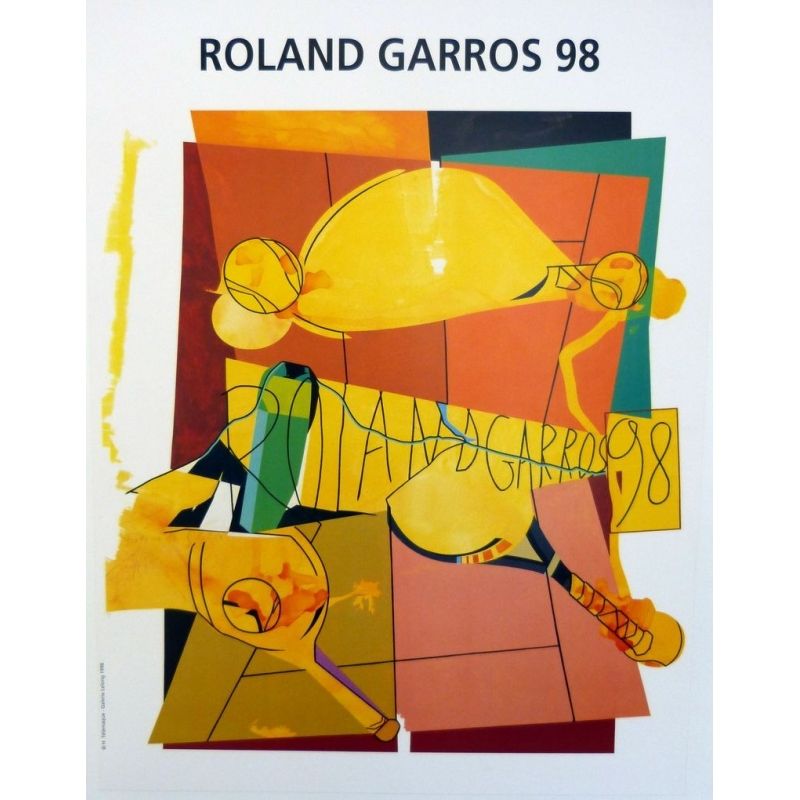 Original poster of Roland Garros 1998 by Hervé Télémaque. Elbé Paris.