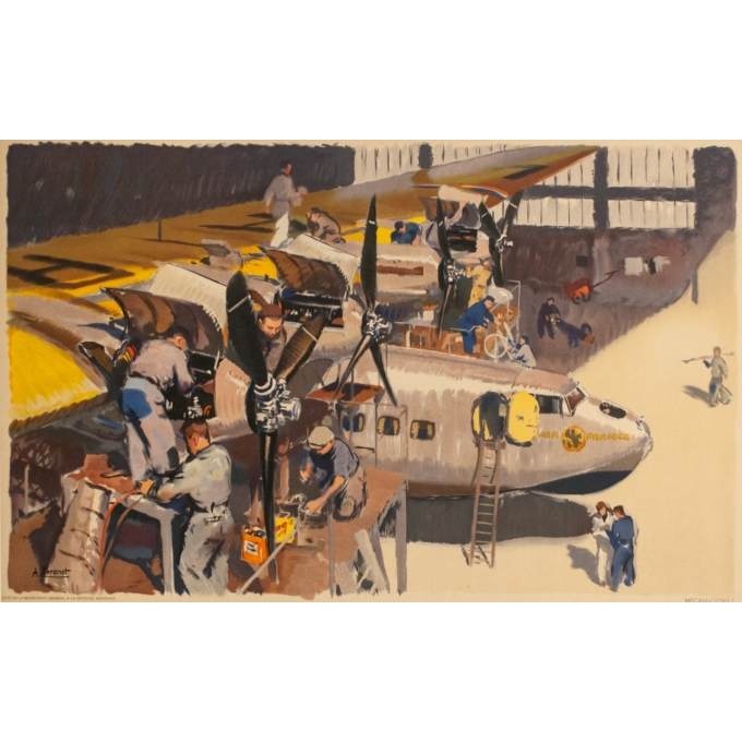 Vintage travel poster - Albert Brenet - Circa 1950 - Air France Les  mécaniciens - 39.4 by 24.4 inches