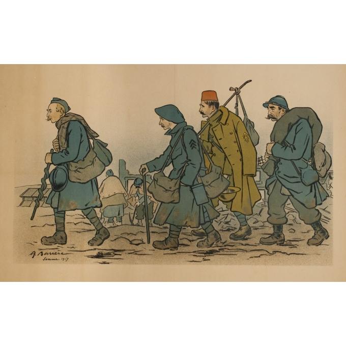 Affiche ancienne originale - A.Barrere - 1917 - Bataille de la Somme - 116 par 74 cm