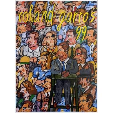 Affiche originale de Roland Garros 1999 par Antonio Segui. Elbé Paris.