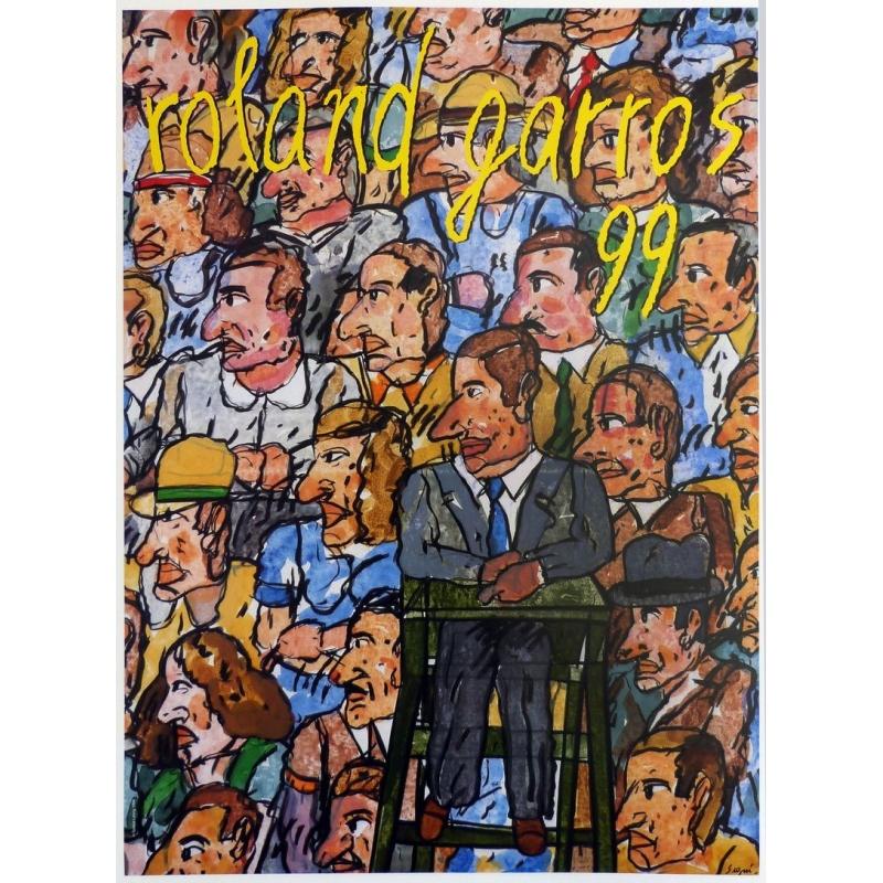 Original poster of Roland Garros 1999 by Antonio Segui. Elbé Paris.