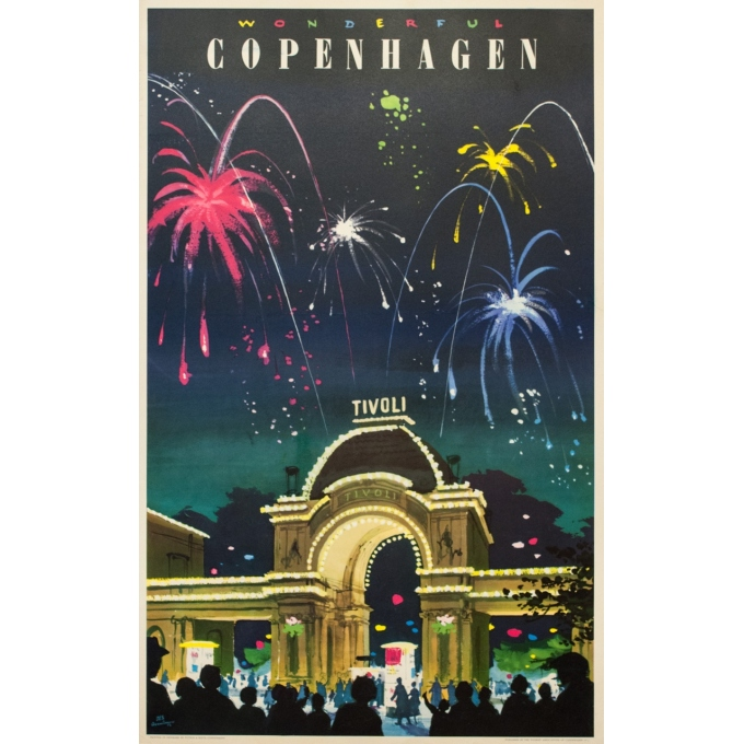 Vintage travel poster - DES. ASMUSSEN - 1963 - Copenhague Tivoli - 39.4 by 24.6 inches