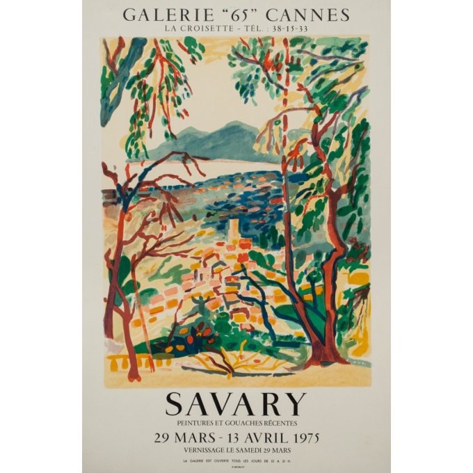 """Vintage exhibition poster - Savary - 1975 - Galerie """"65"""" Cannes - 31.7 by 20.7 inches"""
