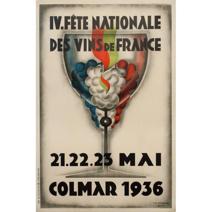Affiche ancienne d'exposition - J. Fr Fleckinger - 1936 - Fête Nationale Des Vins De France Colmar - 120 par 80 cm