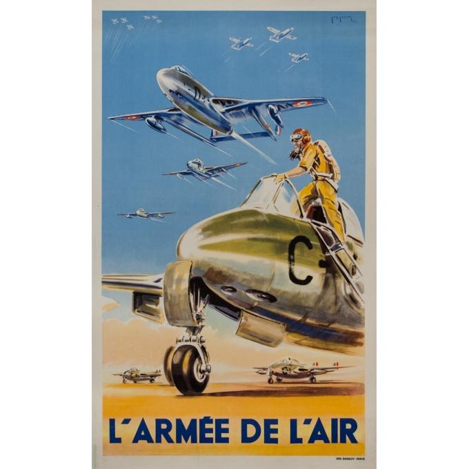 Affiche ancienne de publicité - Paul Lengellé - 1950 - L'Armée De L'Air - 100 par 60 cm