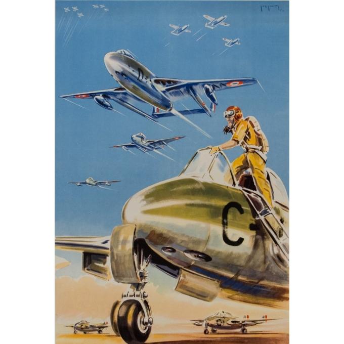Affiche ancienne de publicité - Paul Lengellé - 1950 - L'Armée De L'Air - 100 par 60 cm - 2