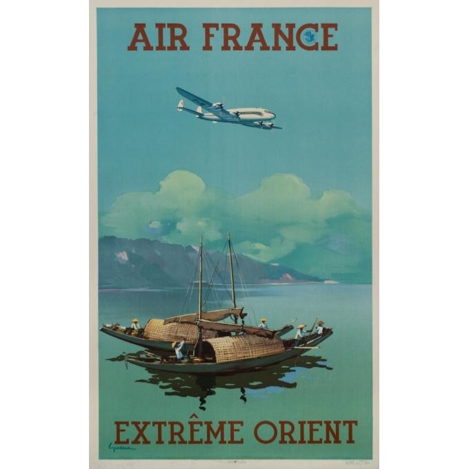 Affiche ancienne de voyage - Vincent Guerra - 1950 - Extrême Orient - Far East - Air France - 99.5 par 62.5 cm