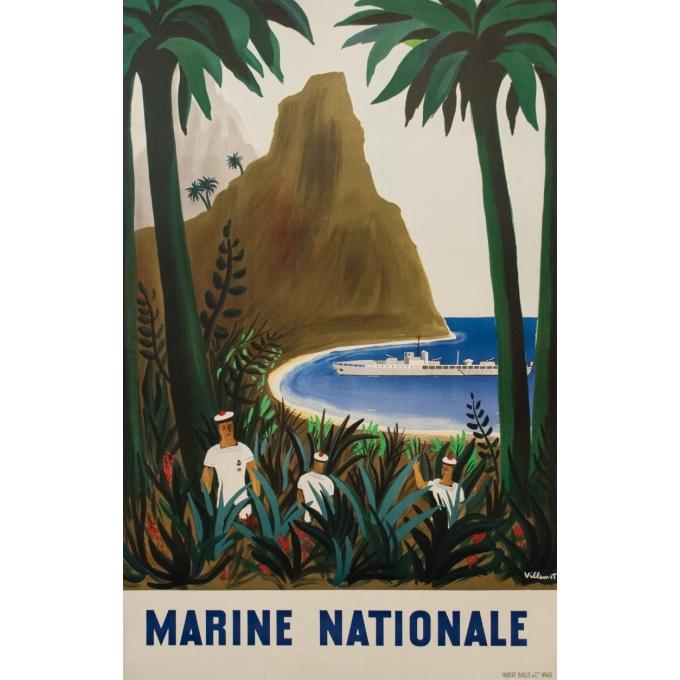Affiche ancienne de publicité - Bernard Villemot - 1950 - La Marine Nationale - 120 par 77 cm