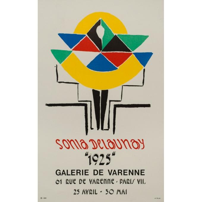 Affiche ancienne d'exposition - Sonia Delaunay - 1925 - Galerie Varenne - 70.5 par 44 cm