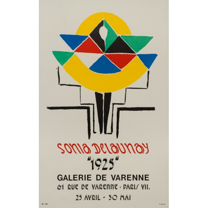 Vintage exhibition poster - Sonia Delaunay - 1925 - Galerie Varenne - 27.8 by 17.3 inches