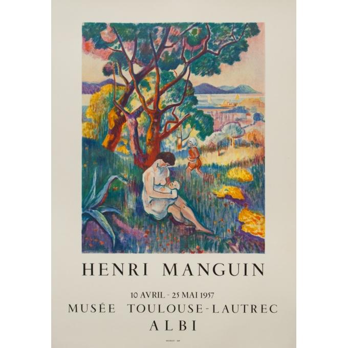 Affiche ancienne d'exposition - Henri Manguin - 1957 - Musée Toulouse-Lautrec - 73.5 par 51.5 cm
