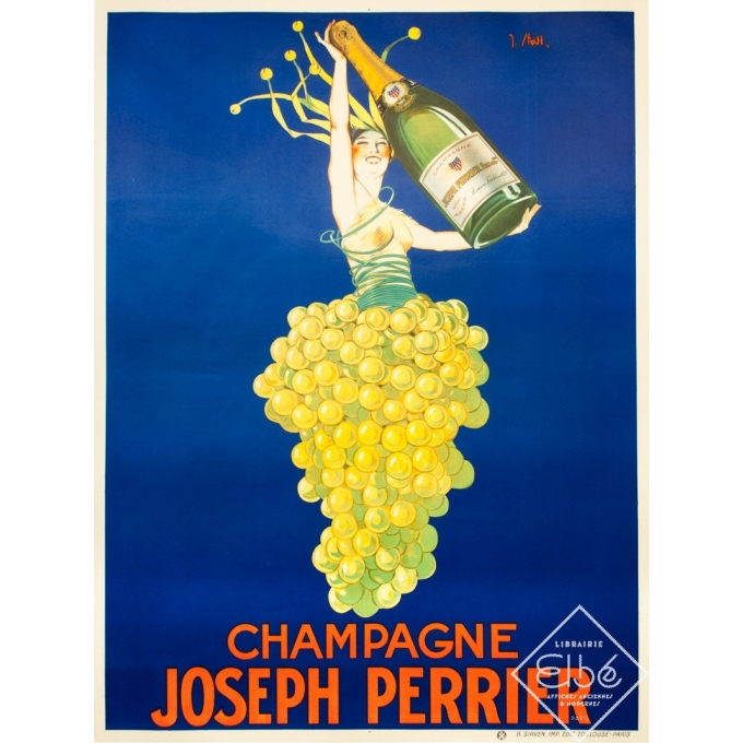 Vintage advertising poster - J.Stall - Circa 1930 - Champagne Joseph Perrier - 63 by 46.6 inches