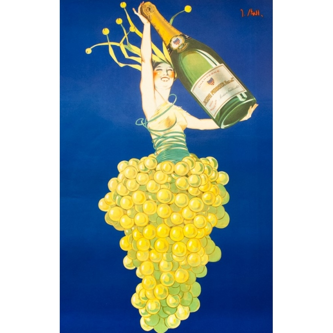 Vintage advertising poster - J.Stall - Circa 1930 - Champagne Joseph Perrier - 63 by 46.6 inches - 2