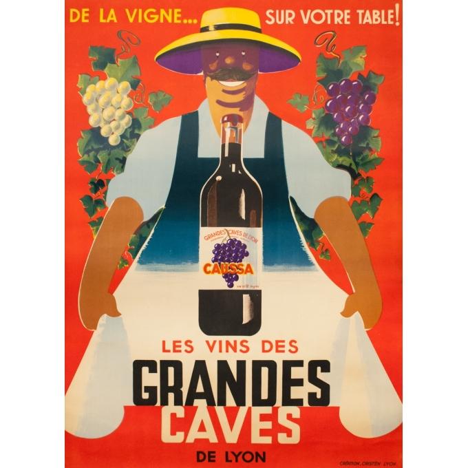 Vintage advertising poster - Cristèn Lyon - 1950 - Les vins des Grandes caves de Lyon Caussa Création - 60.6 by 44.1 inches